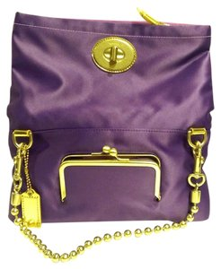 Coach Amanda Satin Foldover Chain Purple Clutch
