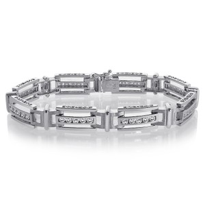 Avital & Co Jewelry 2.75 Carat Mens Channel Set Round Cut Diamond Bracelet 14k White Gold