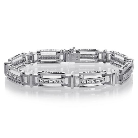 Avital & Co Jewelry 2.75 Carat Mens Channel Set Round Cut Diamond Bracelet 14k White Gold Image 2