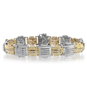 Avital & Co Jewelry 3.98 Carat Mens Diamond Bracelet Two-tone 14k White Yellow Gold