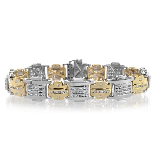 Preload https://img-static.tradesy.com/item/19849994/avital-and-co-jewelry-white-yellow-398-carat-mens-diamond-two-tone-14k-gold-bracelet-0-1-540-540.jpg