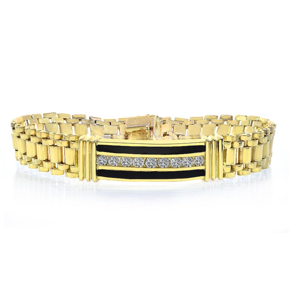 a9b6c4ab35d Avital   Co Jewelry 1.50 Carat Mens Diamond Onyx Bracelet 14k Yellow Gold  Image 0 ...