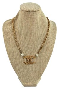 Chanel Chanel Vintage Gold Charm Pearl Necklace