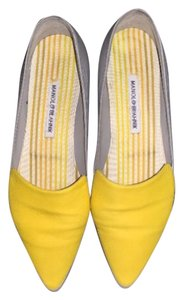 Manolo Blahnik Leather Grey with Yellow Flats