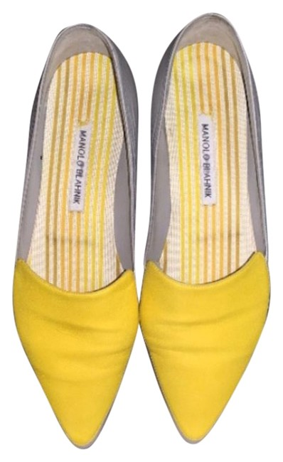 Item - Grey with Yellow Casual. Flats Size US 8.5 Narrow (Aa, N)