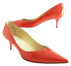 Jimmy Choo Patent Leather Kitten Heels 39.5 Pointy Toe Italy Orange Pumps