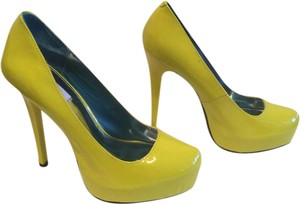 MIA Leather Yellow Patent Platforms