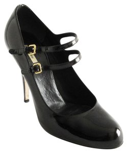 Miu Miu Patent Leather Mary Jane High Heels Buckles Straps Black Pumps