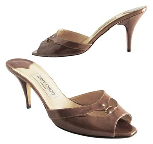 Jimmy Choo Patent Leather Open Toe Brown Mules
