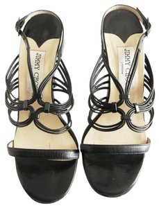 Jimmy Choo Leather Open Toe Slingback Black Sandals