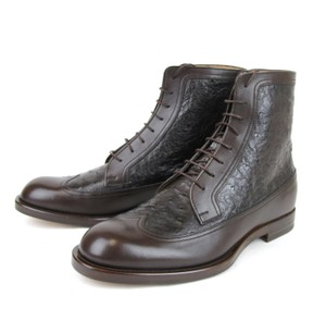 Gucci Brown Men's Leather/Ostrich Lace-up Boot 9/ Us 10 322508 2140 Shoes