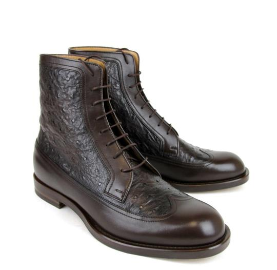 Gucci Brown Men's Leather/Ostrich Lace-up Boot 9/ Us 10 322508 2140 Shoes Image 3