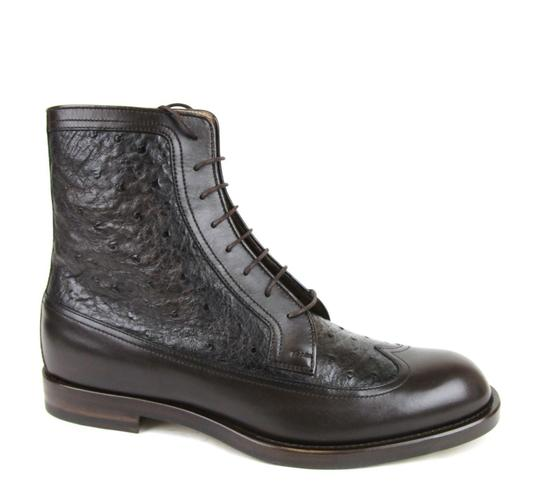 Gucci Brown Men's Leather/Ostrich Lace-up Boot 9/ Us 10 322508 2140 Shoes Image 4