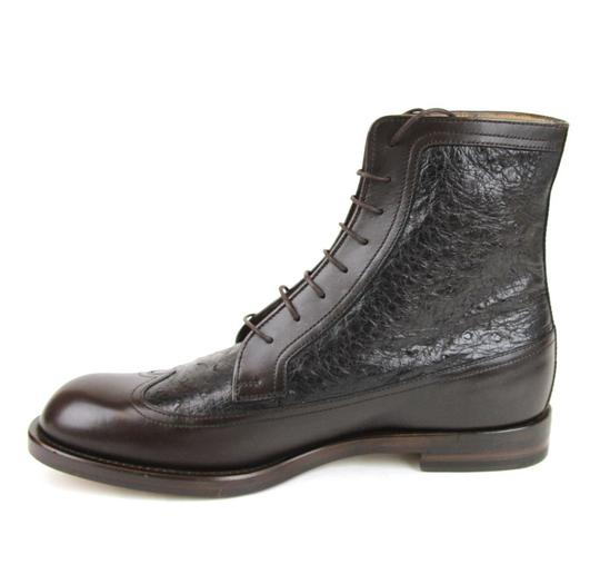 Gucci Brown Men's Leather/Ostrich Lace-up Boot 9/ Us 10 322508 2140 Shoes Image 5