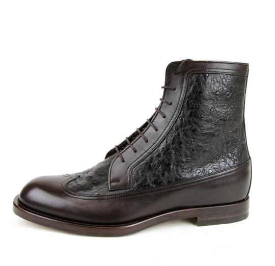 Gucci Brown Men's Leather/Ostrich Lace-up Boot 9.5/ Us 10.5 322508 2140 Shoes Image 1