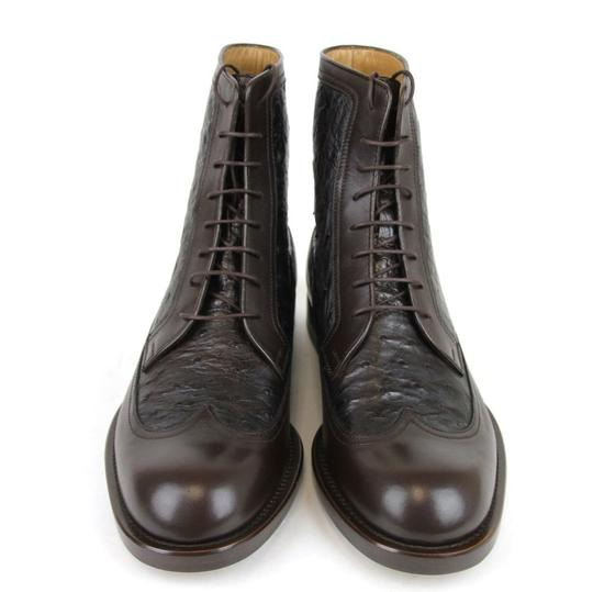 Gucci Brown Men's Leather/Ostrich Lace-up Boot 9.5/ Us 10.5 322508 2140 Shoes Image 2