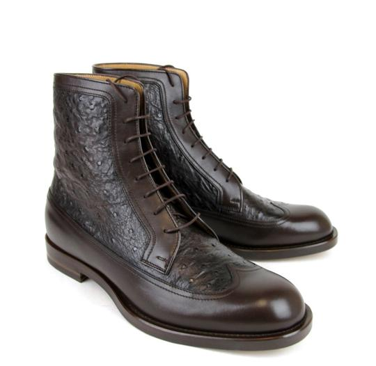 Gucci Brown Men's Leather/Ostrich Lace-up Boot 9.5/ Us 10.5 322508 2140 Shoes Image 3