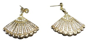 Gold Tone Cubic Zirconia Fan Dangle Ear Rings