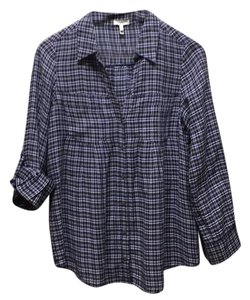 Joie Button Down Shirt Indigo/Navy Plaid
