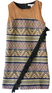 Allison Collection New York short dress Camel/Navy/Neon Pink, Yellow & Orange Fringe Aztec Suede on Tradesy