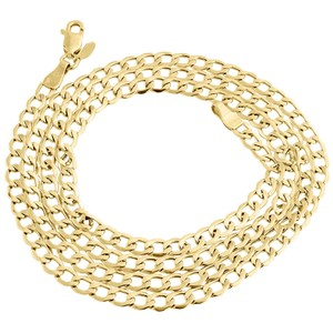 Mens 10K Yellow Gold 4MM Cuban Curb Chain Necklace 16 Inches
