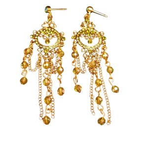 Gold Tone with Green Crystal Dangling Ear Rings