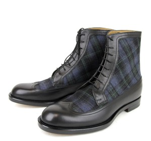 Gucci Black/Blue Leather/Scotland Plaid Lace-up Boot 8.5/ Us 9.5 322508 1069 Shoes