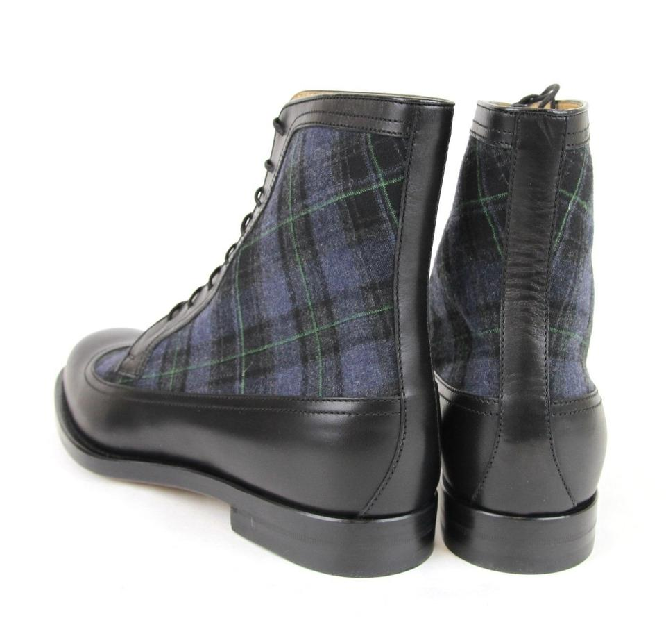 c61c5695055ae Gucci Black/Blue Leather/Scotland Plaid Lace-up Boot 8.5/ Us 9.5 322508  1069 Shoes 46% off retail