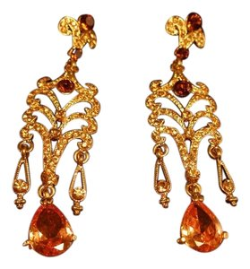 Gold Tone with Crystal Dangling Ear Rings