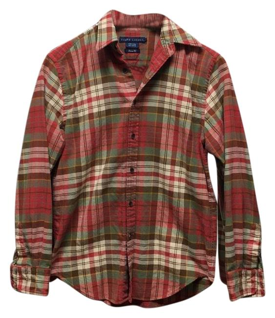 Ralph lauren fall plaid red and green plaid button down for Green plaid button down shirt