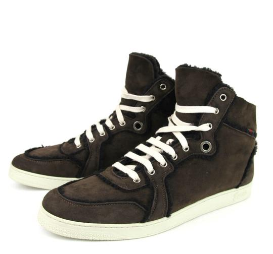 Gucci Cocoa W Shearling High-top Sneaker W/Web 6.5/ Us 7 309408 2140 Shoes Image 1