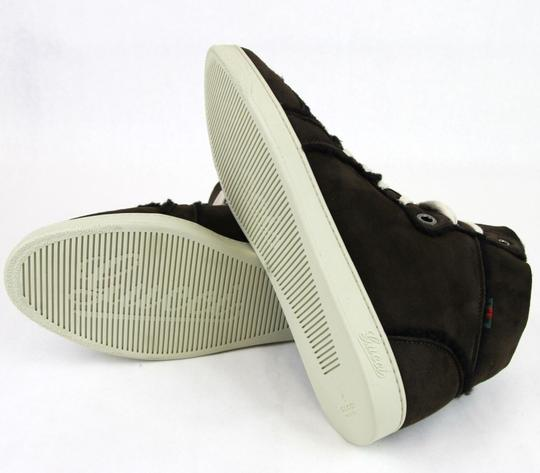 Gucci Cocoa W Shearling High-top Sneaker W/Web 6.5/ Us 7 309408 2140 Shoes Image 10