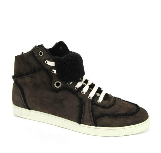 Gucci Cocoa W Shearling High-top Sneaker W/Web 6.5/ Us 7 309408 2140 Shoes Image 4