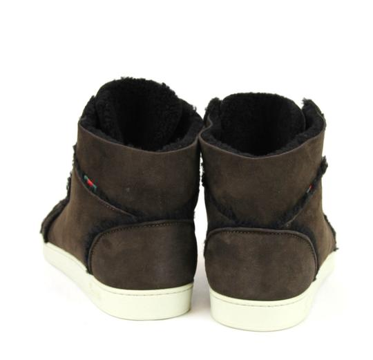 Gucci Cocoa W Shearling High-top Sneaker W/Web 6.5/ Us 7 309408 2140 Shoes Image 8