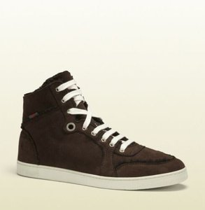 Gucci Cocoa W Shearling High-top Sneaker W/Web 7.5/ Us 8 309408 2140 Shoes