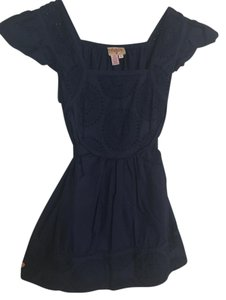 Plenty by Tracy Reese Tie Back Textured Eyelit Top Navy
