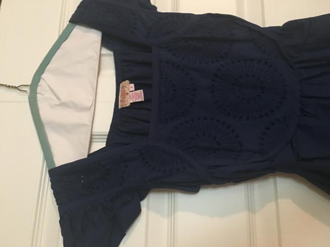 Plenty by Tracy Reese Tie Back Textured Eyelit Top Navy Image 6