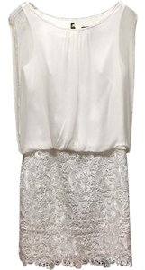 Aidan Mattox Bridal White Cocktail White Lace Silk White Dress