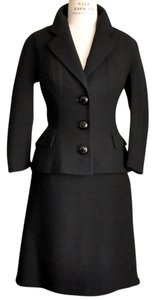 Dolce&Gabbana Dolce & Gabbana Wool Black 3/4 Sleeve Skirt Suit