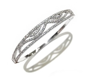 DeWitt's Sterling Silver Bangle Bracelet With Crystals Size7