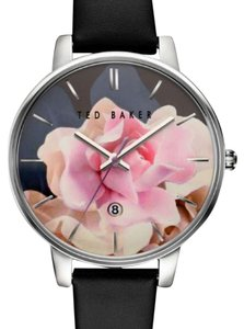 Ted Baker Ted Baker Floral Dial Black Leather Strap Watch