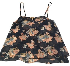 Lily Star Floral Crop Flowers Top Navy