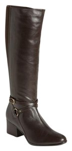 Vaneli Leather Knee High Equestrian Brown Boots