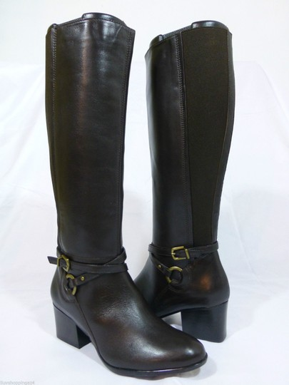 Vaneli Leather Knee High Equestrian Brown Boots Image 1