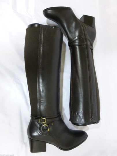 Vaneli Leather Knee High Equestrian Brown Boots Image 4