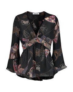 Elizabeth and James Top Black Floral