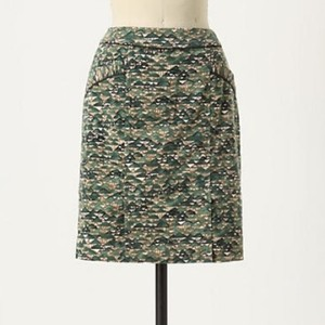 Anthropologie Skirt Emerald Green/ Ivory/ Brown