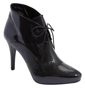 Melinda Eng Melin Crinkled Patent Leather Black Boots