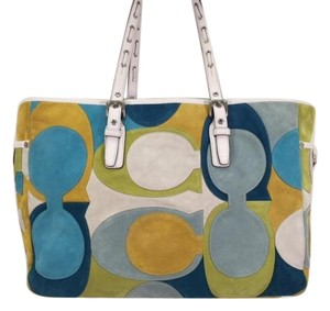 Coach Satin Suede Silver Hardware Tote in Green/Blue/Yellow