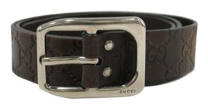 Gucci GUCCI Guccissima Brown Leather Belt Silver Buckle Sz 95 cm or 38